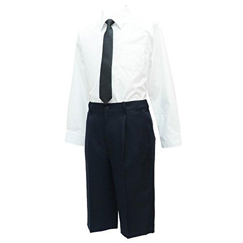 ショパン(CHOPIN) 子供 喪服 8893-5600-set 男の子フォーマル2点セット(長袖シャツ/ハーフパンツ) スーツ (ブラック, 140)