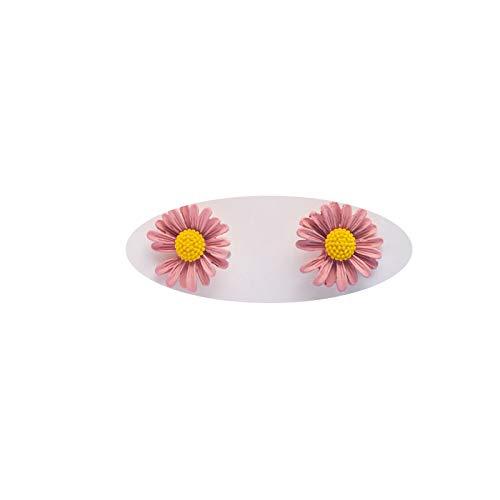 JIAJBG Earrings White Nails Net 925 Wild red Needles Daisy Earrings Sweet Flower Girl Sen Department Hit Color Earrings Ear Hook Ear Hook Earrings/Pink/opcs