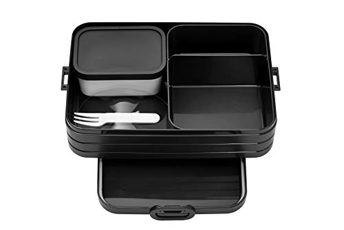 Mepal Bento-Lunchbox Take A Break Black Edition Large – Brotdose mit Fächern, geeignet für bis zu 8 Butterbrote, TPE/pp/abs, 0 mm