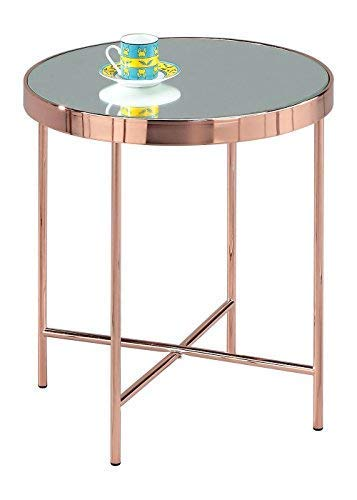ASPECT bijzettafel spiegel/glas/zijkanten/koffietafel/bijzettafel/lamp, metaal, koper