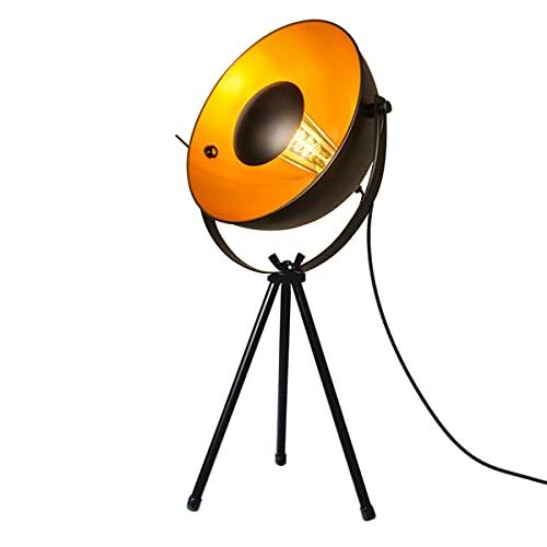 BarcelonaLED Lámpara de Mesa Vintage Trípode de Pie Negro y Foco Dorado Nórdico Retro Industrial con Interruptor Casquillo E14 LED para Salón Mesita de Noche