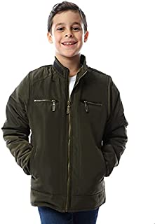 Andora Chest Pockets Button-Front Zip-up Drawstring Hoodie for Boys