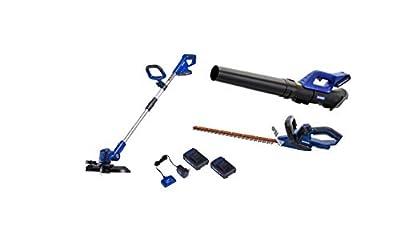 Wild Badger Power WB20VTABHT (2) Batteries Jet Blower Hedge Trimmer Combo, Blue