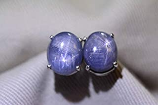 Star Sapphire Earrings 10.40 Carat Sterling Silver Real Genuine Natural Cabochon Sapphire Jewelry