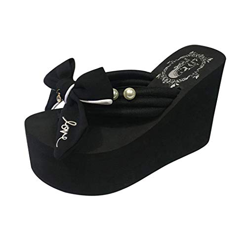 Women's Strap Wedges Slippers,CSSD Ladies's Cross Strap Wedges Sandal Thick High-Heeled Bow Decoration Slipper (5, Black)