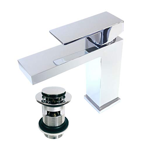 Xcel Home/™ Quality Unslotted Round Chrome Click Clack Basin Pop Up Waste Solid Brass Construction Mushroom//Dome Shaped