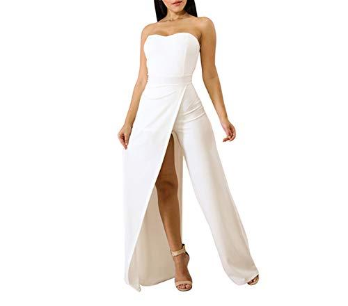 Broekpak dames elegante zomer effen kleuren bandeau vintage lang mode merk Playsuit mode trendy schoudervrije cocktail party jumpsuit overall