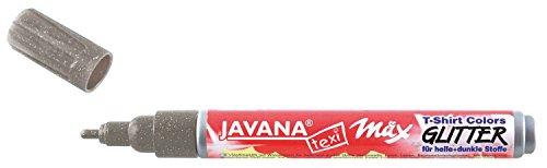 Kreul 92669 - Javana Texi Mäx Glitter Stoffmalstift für helle und dunkle Stoffe, mit Glitzereffekt, waschecht nach Fixierung, mit Rundspitze ca. 2 - 4 mm, silber