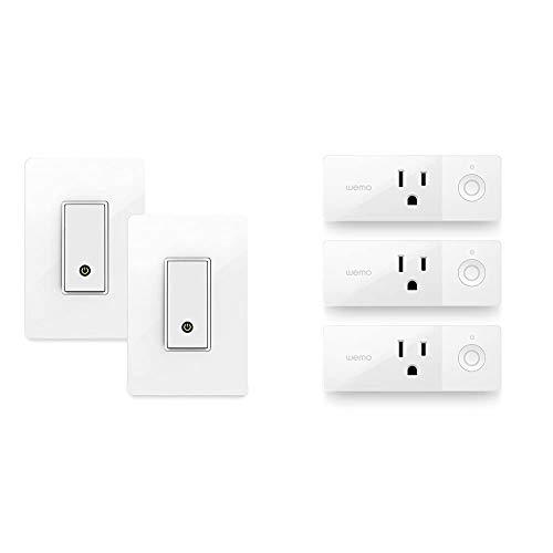 Wemo (F7C030-BDL) Smart WiFi Light Switch 2-Pack Bundle, Works with Amazon Alexa and Google Assistant, White & Mini Smart Plug...