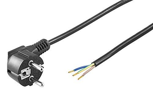 kab24® Schutzkontakt Stromkabel Netzkabel (2m, schwarz Schutzkontakstecker gewinkelt auf offene Enden)