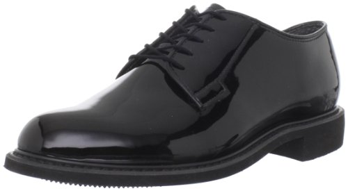 Bates Men's High Gloss Oxford, Black, 10.5 D US