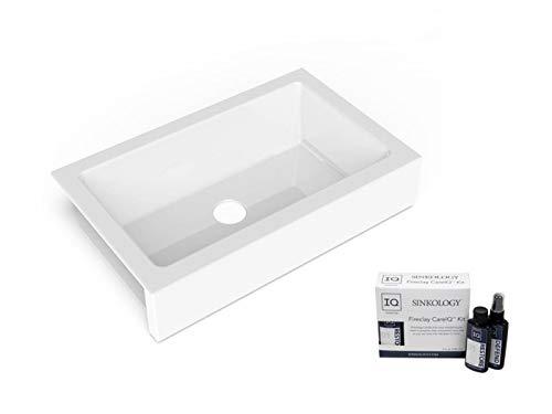 Sinkology SK451-34FC-AMZ Grace QuickFit Undermount Farmhouse 33.85 Single Bowl Crisp White with Care IQ Kit Fireclay Kitchen Sink