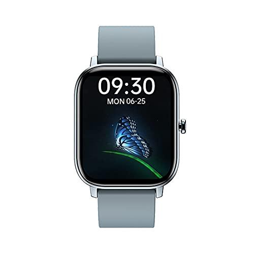 HanYuMaoYi Reloj inteligente de pantalla completa con esfera 3D, resistente al agua, monitoreo del sueño, Bluetooth multifunción, reloj deportivo (color: espacio azul claro)