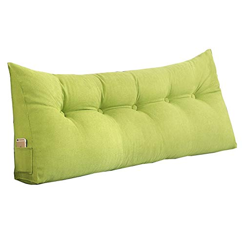 ZHANGAIZHEN Backrest Headboard Bed Head Pillow Headboard Cushion Backrest Cushions Solid Color Bed Linings Size Optional (Color : Grass green, Size : 45 * 50 * 20cm)