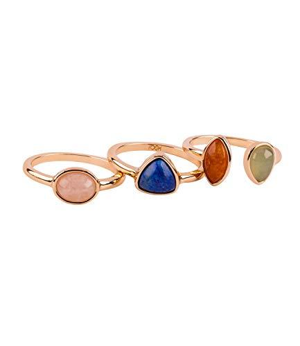 TOSH Damen Schmuck, 3er Set Ringe, große Schmucksteine, Stacking Ringe, goldfarben (365-957)