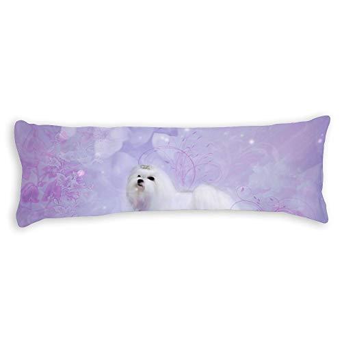 "Cute Maltese Body Pillow Cover Pillowcases Cushion with Hidden Zipper Closure for Sofa Bench Bed Home Decor 20""x54"""