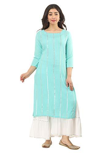 SINGNI Women's Rayon Lace Work Straight Kurta and Sharara Set/Ethnic wear/Tradtional Wear/Kurti Botton Set/Kurti Sharara Set