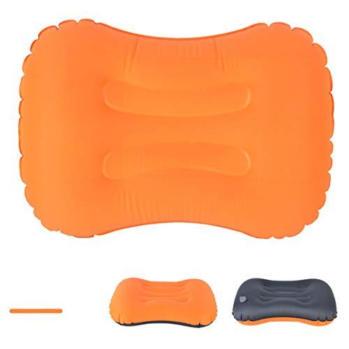 Ultraligero inflado de viajes / camping almohadas compresibles, compacta, inflable, cómoda, almohada ergonómica para el cuello y soporte lumbar, mientras que el campamento, caminata, mochilero,Naranja