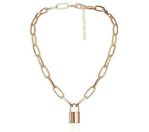 nice cheng Collar Colgante Geométrico De Personalidad Temperamento Collar De Aleación En Forma De Candado Simple para Hombres Y Mujeres