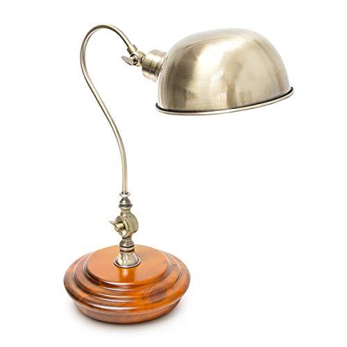 Relaxdays 10018492 Table Lampe de Bureau Design Industriel Bois Massif & Fer réglable, Fer, E27, 40 W, Laiton