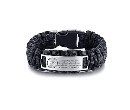 Army Marine Air Force Bracelet,Men's Survival Paracord Bracelet Outdoor Wraps Parachute Bangle,Amulet Prayer Jewelry for Military Soilders Police Hero Congratulation Graduation Gifts for Men