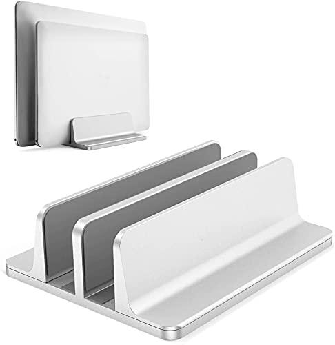 Double Adjustable Vertical Laptop Stand Newly Designed 2 Slots Aluminum Desktop Dual Holder Fits All 17.3 Inch Tablet