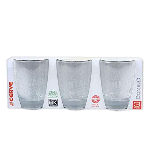 Cerve Lot de 3 verres à eau vintage transparents 300 ml