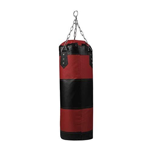 Brookfendi Sacco di sabbia, 70 cm, vuoto, per allenamento, fitness, MMA, boxe, gancio, da appendere, per calci, sabbia, colore: rosso e nero