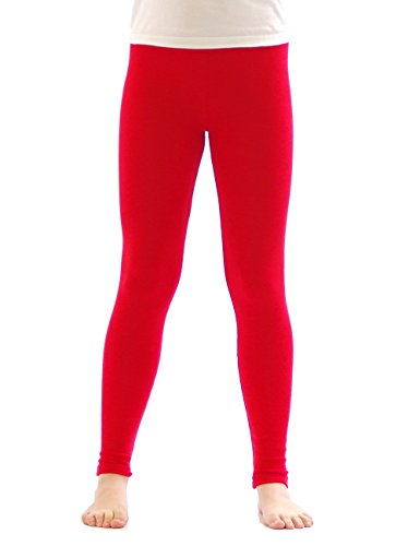 yeset Kinder Thermo Mädchen Leggings Fleece Hose lang Leggins aus Baumwolle rot 134