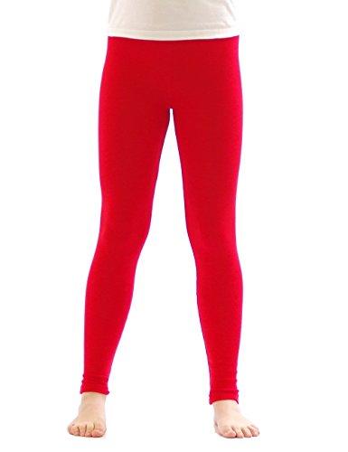 yeset Kinder Mädchen Thermo Leggings Fleece Hose lang Leggins aus Baumwolle rot 128