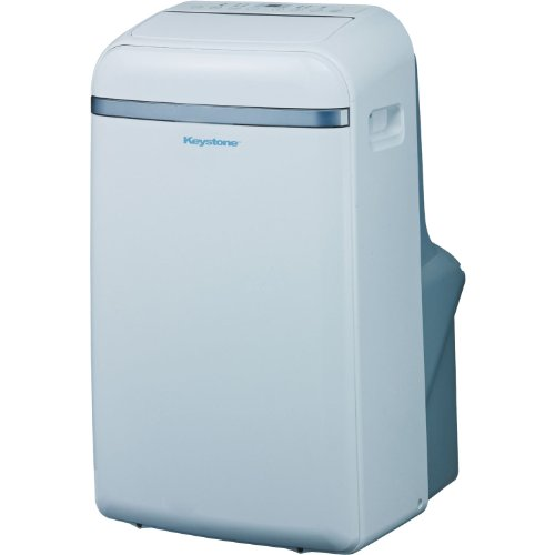 Keystone Eco-Friendly 14,000 BTU Portable Indoor Air Conditioner, Built-In Dehumidification with 'No Bucket Design', Electronic Controls with LED Display, and 3 Cooling & 3 Fan Speeds - Sleep Mode, Full Function Temperature Sensing 'Follow Me' Remote, Side Handles & Castor Wheels and Flexible Exhaust Hose Included