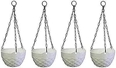 "Truphe Plastic Hanging Pots, White, 8"" Inch - 4 Pieces"