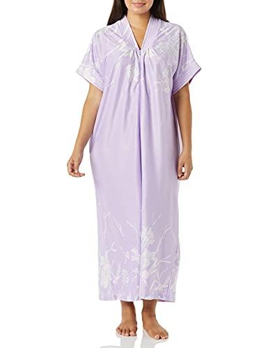 AmeriMark Women's Long Length Caftan - Hawaiian Muu Muu Night Gown with Pocket Lavender 02X
