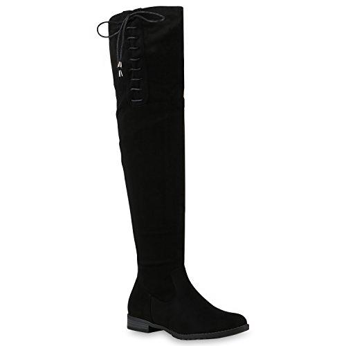 Basic Damen Overknees Schleifen Stiefel Samt Flach Langschaftstiefel Overknee Boots Schuhe 128530 Schwarz mit Schleifen 37 Flandell