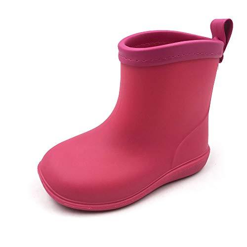 AMOJI Little Rain Boots Girls Toddlers Rain Boots Kids Boys Easy On Lightweight Waterproof Rose Pink 15 cm Size 7.5 UK Child
