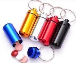 Boolavard® TM Aluminum Pill Box Case Bottle Holder Container Keychain Key Chain Key Ring (Silver)