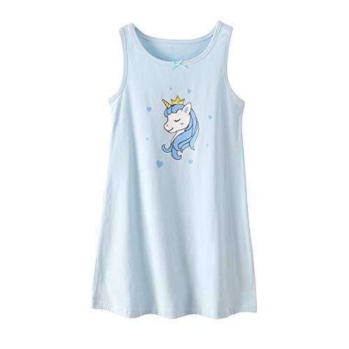 Unicorn Girls' Cotton Nightgowns Carton Pringting Sleepwear Blue 10-12
