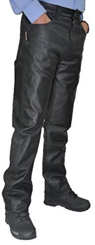 Lederhose lang Herren Damen Fuente Lederjeans- Echtleder in festem Aniline, Lederhose Jeans 501 Schwarz- Motorrad Lederjeans Lederhose übergröße große Größen (W27/L32 (68-69cm), Schwarz)