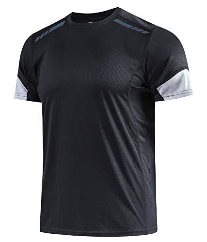 Herren Sport-T-Shirt Schnelltrockn Stretch Tee Feuchtigkeitstransport T-Shirt Atmungsaktiver Kurzarm Running T-Shirt