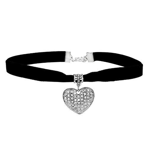 TTDAltd Collar Corazón Chocker Collar Colgante Gótico Negro Collar Chockers Collares para Mujeres Bijoux Boda Novia Joyas Regalos