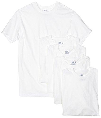 Fruit of the Loom Men's 5-Pack Crew Neck T-Shirt, White, Large