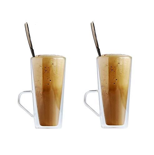 Maxxo Vasos de Doble Pared Frappé 4X 320 ml Copas de Vidrio Térmico Resistente al Calor y Frío Tazas con Efecto Flotante para Té y Café