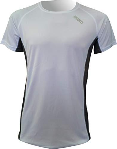 Camiseta Deportiva Manga Corta EKEKO Marathon, Camiseta Hombre Fabricada en Poliester microperforado, Running, Fitness y Deportes en General. (M, Blanca)
