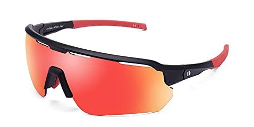 CLANDESTINE Epic Red - Gafas de Sol deportivas para Mujer y Hombre