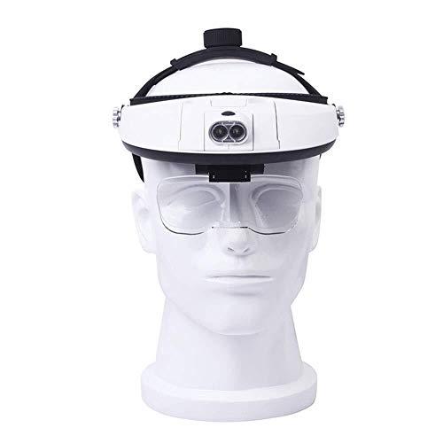 HJXSXHZ366 loep met 2 ledlampen, handsfree leesloep op het hoofd, juwelier, vergrootglas met 5 verwisselbare glazen