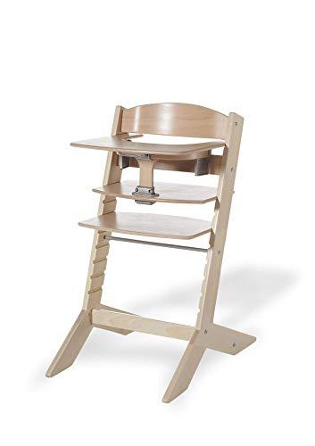 Geuther mitwachsender Hochstuhl Syt, Kinderhochstuhl, Treppenhochstuhl, Sitz- & Fußbrett verstellbar, Babyliege separat erhältlich, TÜV-geprüft, Holz, natur