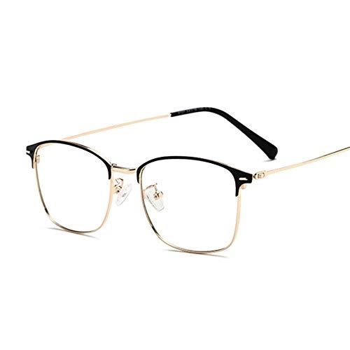NJKJ Anteojos Lente Fotocromática Solar Gafas Cuadradas Para Miopía Anti-Luz Azul Anteojos Recetados Dioptría 0-0.5 -1.0 A -4.0-Negro-Oro __- 325 (-3.25)