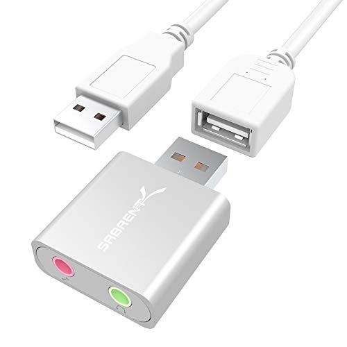 Sabrent USB Externe Soundkarte Aluminum Stereo Sound Adapter für Windows und Mac. Plug and Play. Inkl. USB Kabel. Keine Treiber erforderlich. (Silber) (AU-EMAC)