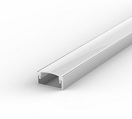 SET: LED Profil, 100cm Profil LED für LED Streifen, aluminium led profil + Abdeckung (Milchig) LT4