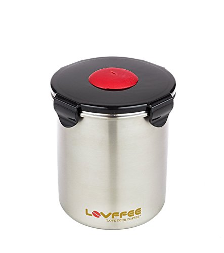 LOVFFEE 1 Pound Stainless Steel Coffee Storage Container, Patented Airtight Coffee Canister + Coffee Scoop - The Ultimate Coffee Beans Storage Solution 16 Oz (Silver)
